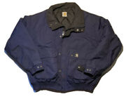 Used Blue Nylon Jacket Coat Quilted Insulated Sz L Clean