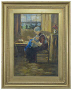 Albertus Johan Neuhuys Dutch School Signed Oil Woman And Baby Sewing