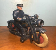 Antique Original Cast Iron Hubley Police Motorcycle Battery Headlight Toy Nice