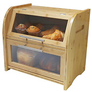 Arise Stylish Bamboo Bread Box For Kitchen Countertop Extra Large 2-shelf Bread