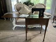Vintage Singer 301 Black Sewing Machine With Cabinet And Manual