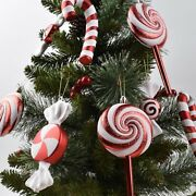 Christmas Tree Decorations Red And White Candy Lollipops Combination Christmas
