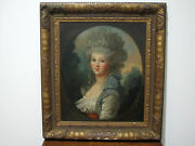 Antique 18th/19th C Oil On Canvas Portrait Painting - Beautiful Lady