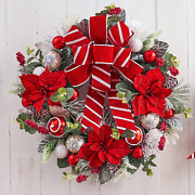 22 Frosted Red Poinsettia Wreath