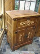Vintage Antique Solid Oak Early 1900and039s Wood Carved Outlays Ice Box Ice Chest