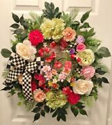 Romantic Country Cottage Mackenzie Childs Ribbon Floral Door Wreath Summer