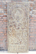 Vintage Hand Carving Lord Krishna With A Flute In His Hand Barn Door Wall Art 84