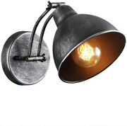 Farmhouse Wall Sconce Light Fixture Vintage Industrial Silver Rubbed Mount Metal