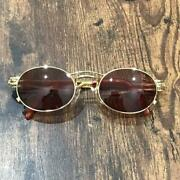 Vintage 1990's Jean Paul Gaultier Sunglasses Yellow Gold Round Frame Brown Lens