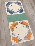 Vintage Feed Sack Butterfly Quilt Cutter Piece For Repurposing And Crafts 15 X 36