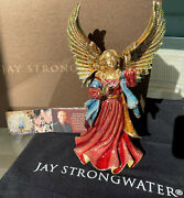 3400 Jay Strongwater Rejoicing Angel 9.5 18k Gold Pewter Tag Box Bag