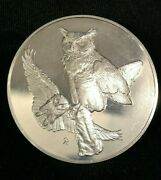 1970 Franklin Mint Proof Sterling Silver Roberts Birds 1 Great Horned Owls