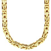 925 Sterling Silver Bling Chain - Byzantine 8x8mm Gold