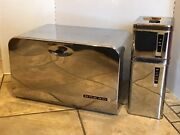 Mid-century Chrome Lincoln Beauty Bread Box W/shelf 2 Canisters Tins Containers