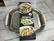 2x Stainless Steel Bbq Baskets Grilled Meat Or Vegetables 370 Celcius Grill Top