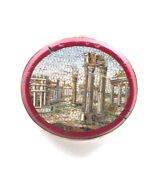 Antique Victorian Micro Mosaic Of The Roman Forum Brooch Pin