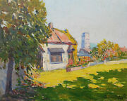 Paul-louis Mestrallet French Oil Painting Landscape Country Home Jardin Steeple