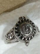 Vintage 825 Sterling Silver Face In The Sun Poison Ring Opens Up Size 6 1/2