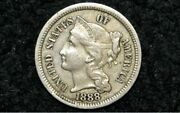1888 Three Cent Nickel 3c Au Very Low Mintage Year Only 41k Minted