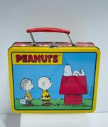 80s Peanuts Charlie Brown, Snoopy And Linus Metal Tin Lunchbox W/ Comic Yellow Red