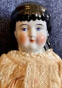 """Antique German 21"""" China Head C1840 Currier And Ives Doll W/gorgeous Outfit Rare"""