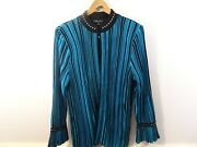 Ming Wang Black Teal Striped Knit Sweater Jacket Cardigan Size L Open Business