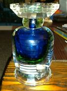 5th Ave Crystal Inc. Art Candle Holder Blue And Green. Nice. Chistmas Gift.