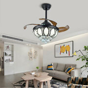 Used Ceiling Fan 36 Crystal Chandelier Led Light Lamp Remote Retractable Blade