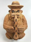 Handmade Coconut Hand Carved Monkey W Glasses N Trumpet Dominican Republic