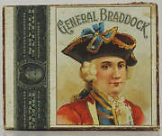 Rare General Braddock Tobacco Cigar Box With Antique 1910 Tax-stamp Indiana.