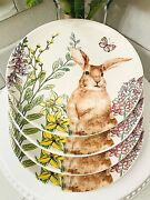Graces Teaware Spring Easter Bunny Floral Luncheon Salad Plates Set Butterflies