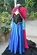 Disney Princess Party Frozen Anna Adult Cosplay Complete Costume With Wig