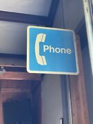 Vintage Pay Phone Booth Sign - Flanged Double-sided - 18x18 - Public Phone Booth