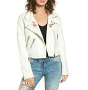 Blank Nyc Full Bloom Womens White Faux Leather Studded Moto Jacket Xs Nwt 188