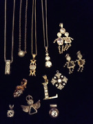 13 Pendents 4 Chains Cubic Zirconia Sterling Silver Lot Pendants Charm