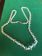 Necklace Vtg Art Deco 28andrdquo Glass Crystal Beads Gold Filled Clasp Lot E 4