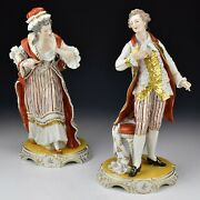 Dresden Porcelain Figurines Lady And Gentleman Fine Quality Signed Carle Thieme
