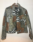 Wilsons Maxima Womens Leather Button Down Jacket Size L Animal Print - Large