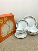 Vintage Corelle Corning 20 Piece Set Butterfly Gold 4 Person Dinnerware