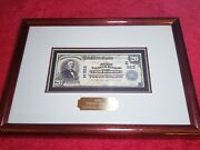 Framed 1904 20 Note/ Bill Usa Currency Paper Money Collectible 1900s