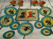 1930's Ohio Art Tea Set Gingham Dog Calico Cat Cups Plated Tray Blue Metal