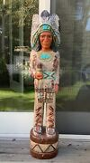 Rare Vintage John Gallagher Wood Carved Native American Indian Cigar Store 4andrsquo