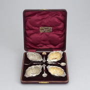 Antique 19th Set Of Silver Salt Shakers With Spoons Rococo Style Original Box