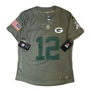 Nike Nfl Green Bay Packers Salute To Service Womenandrsquos Jersey 12 Rodgers S Bnwt