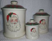 Santa Claus Cookie Jars Christmas Red Green Plaid Lid Woods Set Of 3 Canisters