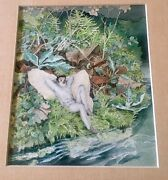 Beautiful Vintage Signed Watercolor Painting Fantasy Forest Horned Elf D Thomas