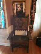 Old Antique Carved Wood Throne Chair Tooled Embroidered Leather Awesome