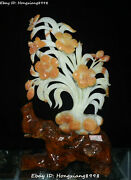 19 Natural Jade Carving Apricot Flower Tree Butterfly Potted Plant Statue