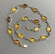 Nice Mexican 925 Sterling Silver Chiapas Amber Beaded Cab Necklace New Old Sto