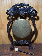 Antique Dinner Gong Oriental Ebonised Teak Stand Chinoiserie Victorian 1880